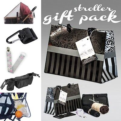 Gift pack for Pram or Stroller- New Mum & Baby with Hook Clip Caddy Net Bag