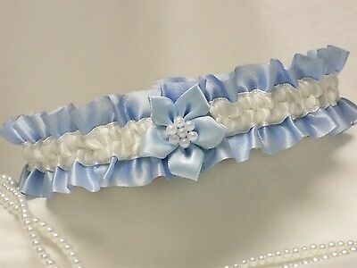 BRIDAL WEDDING GARTER BLUE & IVORY SATIN with Blue poinsettia flower & pearls