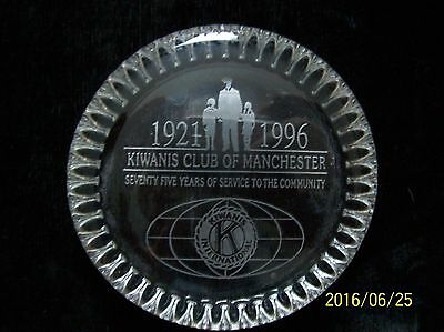 Kiwanis Club International Of Manchester, Glass Paperweight, 1921-1996, Etched
