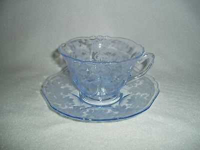 Cambridge Apple Blossom Blue Cup & Saucer  Free U.S. Shipping