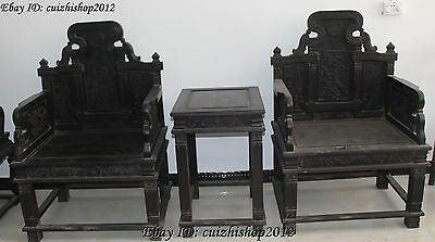 Old Ebony Black Wood Flower Table Deck chair Armchair Chairs Chaise longue Set