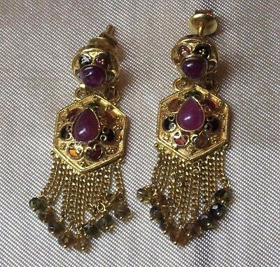 Orecchini Oro 22Kt Rubini - Solid Gold 22Kt Indian Earrings With Natural Ruby
