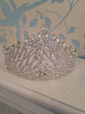 Marquise Full Crown . Silver Tall Crown . Pageant Crown . Wedding /prom Silver
