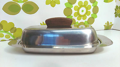Vintage 1960's Stainless Steel American Style Butter Dish with Teak Handle (15)
