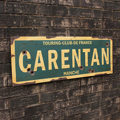 WW2 CARENTAN ROAD SIGN - French Repro Army Wall Plaque - Military - Steel  Aged