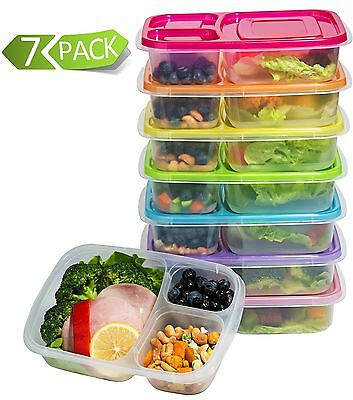 Meal Prep Containers 3-Compartment Lunch Boxes Food Storage Containers with L...
