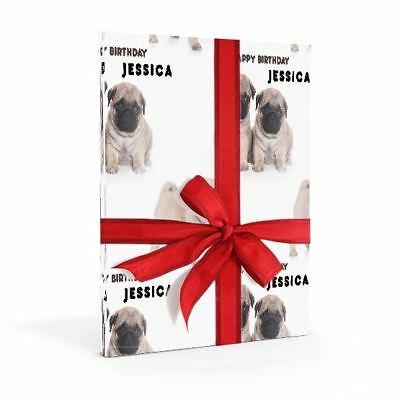 Super Cute Pug Dog Personalised Birthday Gift Wrap With 2 Tags - ADD A NAME!