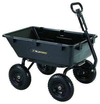 Gorilla Carts GOR6PS Heavy-Duty Poly Yard Dump Cart with 2-In-1 Convertible H...