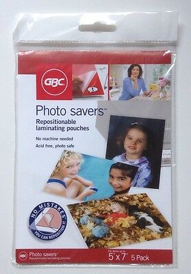 Repositionable Laminating Pouches 5'' x 7'' Pack of 5 GBC No Machine Needed NEW