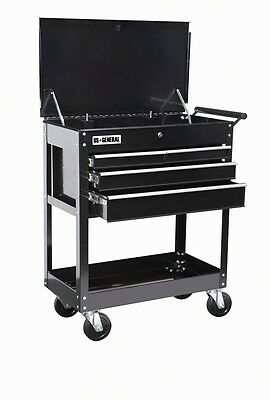 NEW 26 In. 4 Drawer 580 Lb. Capacity Glossy Black Roller Cart Tool Cabinet