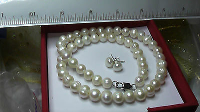 Real cultured pearls necklace and earrings Freepost