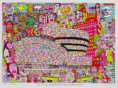 "James Rizzi orig.3D Bild "" Lets all gather at the guggenheim"" NEU mit Zertifikat"