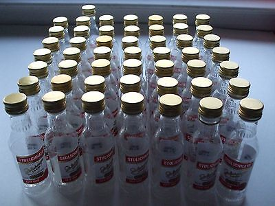 50pcs EMPTY Original Stolichnaya Vodka 50ml Plastic Miniature Liquor Bottles Lot