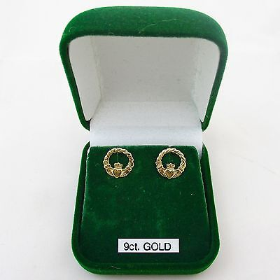 Pair Vintage 9ct Gold Claddagh Earrings.
