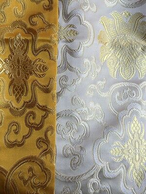 Tibetan high quality silk brocade white table runner/altar/table cover/placemats