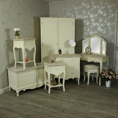 Cream bedroom furniture dressing table set bedside chest of drawers wardrobe box