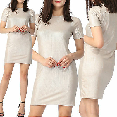 Ladies Womens Plain Short Sleeve Crew Neck Metallic Tunic Midi Shift Dress