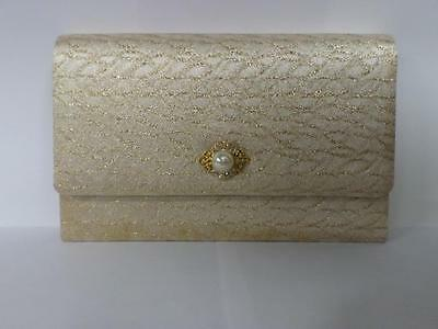 *vintage Harrods Clutch Purse/ Bag - Gold & Silver Embroidery*