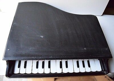 Vintage Retro Collectible Wooden Small Kids Tripod Piano All Keys Working Deco