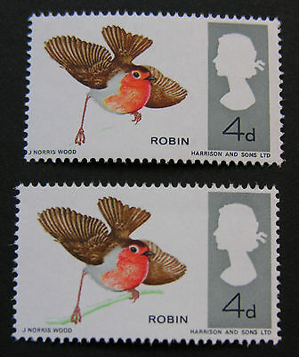 GB British Birds 1966 non phos issue part missing green effects branch MNH SG698