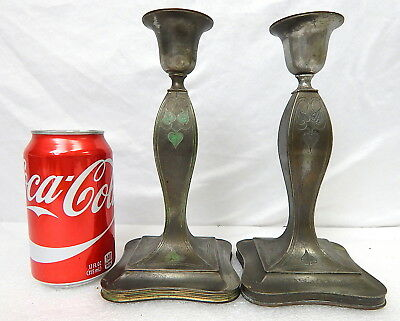 Antique Pairpoint Sterling Silver Candle Sticks Holders Pair Art Nouveau