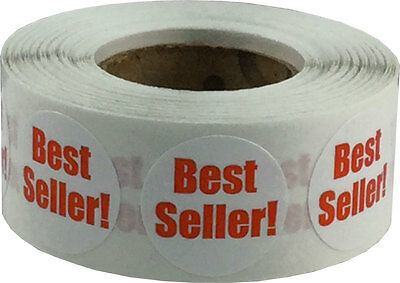 White with Red Best Seller Circle Stickers, 3/4 Inch Round Labels, 500 on a Roll