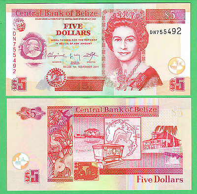 Belize 5 Dollar Note P-67e  UNCIRCULATED