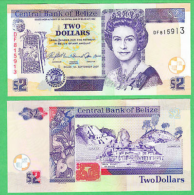 Belize 2 Dollar Note P-66c  UNCIRCULATED