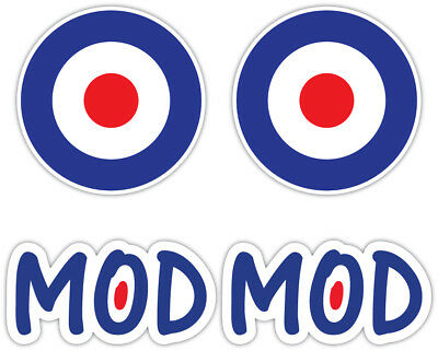 MOD ROUNDEL Laminated Sticker Set vespa Lambretta Scooter Moped Retro Decal