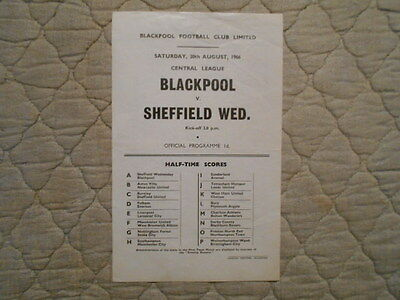 Blackpool Res V Sheffield Wed Res Central League Single Sheet Programme 1966