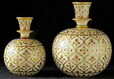 2 vintage marble Hookah bases, matching small & large -  from India