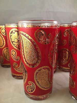 Set of 13 Culver Glass Red and Gold Paisley Hi-Ball Tumblers textured design