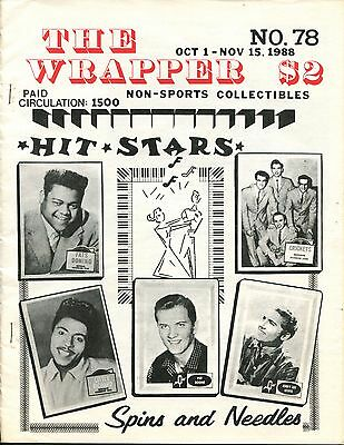 THE WRAPPER No.78 NON-SPORTS CARDS COLLECTIBLES, HIT STARS, SPINS & NEEDLES 1988