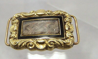 Georgian Gold Mourning Hair Piece for Bracelet or Necklace - Inscribed on back
