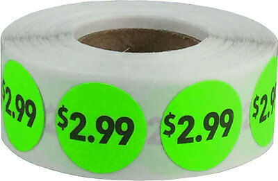Fluorescent Pricing Retail Adhesive Stickers, 3/4 Inch Round Labels, 20 Options