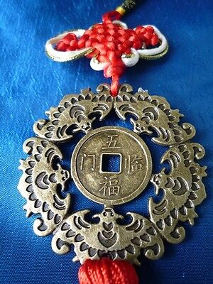 Feng Shui Chinese 5 Bat Medallion Blessing Red Thread Endless Fortune Prosperity