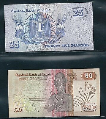 Egypt 1985 - 25, 50 Piastres - #57, 58 - Uncirculated