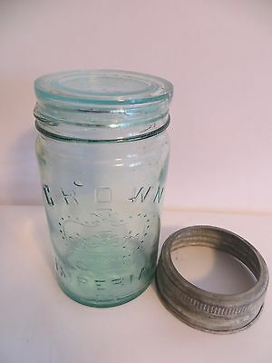 VTG Embossed GREEN CROWN IMPERIAL Mason Jar Zinc & Crown Green Glass Lid Canada