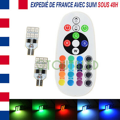 2X Ampoule Lampe Navette T10 W5W 12V 12 Led 5050 Rgb + Telecommande Tuning Rvb
