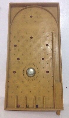 """Vintage Wooden Bagatelle Game With  Spring Release, Bell & 3 Balls 24""""x12"""""""