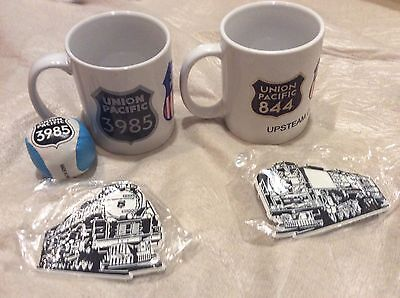 Union Pacific RR Coffee Mugs and Magnets 50th Anniversary. Engines 3985 & 844