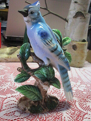 """Vintage Glossy Ceramic Blue Jay on a Tree Branch, Made in Japan, 9"""" x 5 1/2"""""""