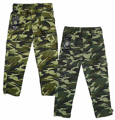 Boys Trousers Cargo Pants Army Camouflage Camo Combat Khaki 3 to 12 Years
