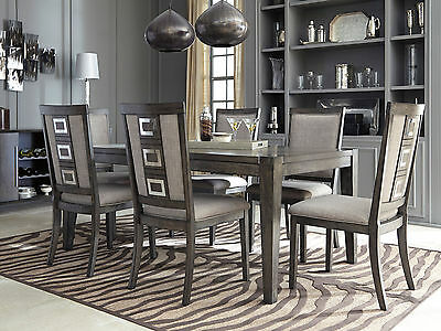 PARKER-7pc Modern Walnut Gray Rectangular Dining Room Table Chairs Set Furniture