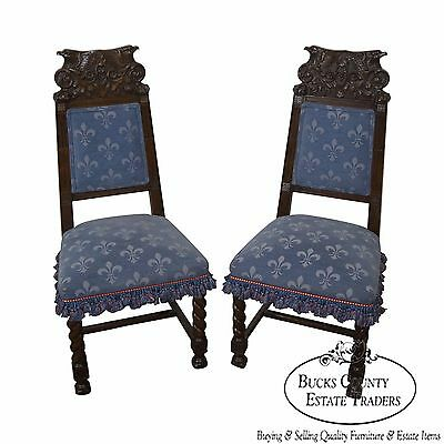Antique 19th Century Carved Eagle Barley Twist Pair of Side Chairs (B)