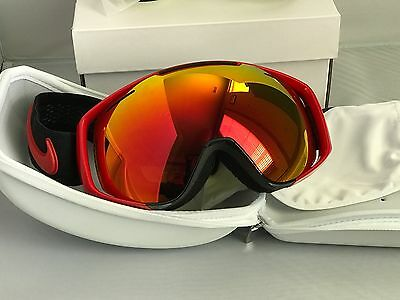 New Nike Khyber Snowboard Ski Goggles Red/Black Yellow Red Ion Interchangeable