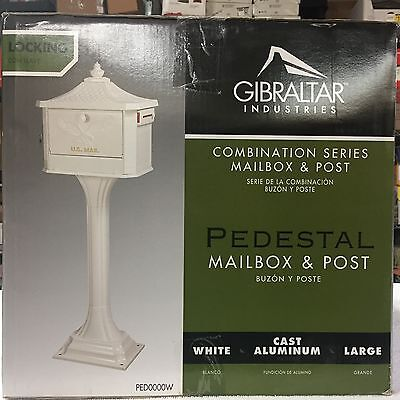 New Gibraltar Ped0000w White Cast Aluminum Pedestal Mailbox Locking With Post
