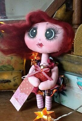 Hand made Valentines Rag doll Queen of Hearts
