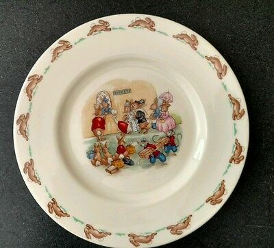 Royal Doulton Bunnykins Plate  Ticket  Train Station Children/Baby Plate