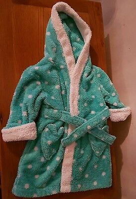 Baby girls mini mode green spotty dressing gown aged 12-18 months
